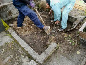 根掘工。まずは根掘工を行います。通路面から約30センチ程掘り下げます。